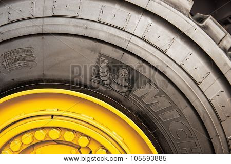 Michelin Tire On Yellow Tractor