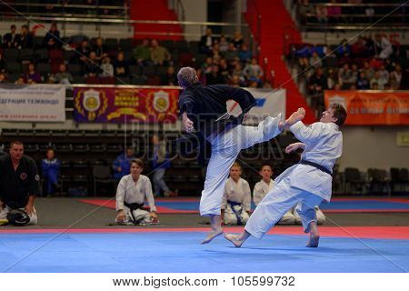 ST. PETERSBURG, RUSSIA - OCTOBER 17, 2015: Demonstration performance by St. Petersburg Shotokan Karate Federation during the martial arts festival Baltic Sea Cup in Sibur Arena