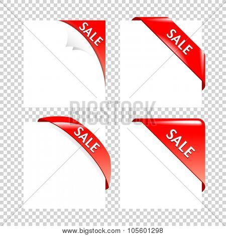 Sale Red Corner collection. Set of Business Ribbons on white Backgrounds.
