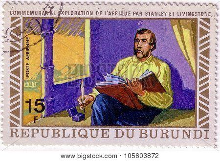 Burundi - Circa 1973: A Stamp Printed In Burundi Shows Image Of The Henry Morton Stanley Meets David