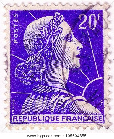 France - Circa 1955: A Postage Stamp Printed In France With Image Of Marianne, The National Emblem O