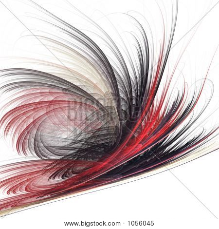 fractal rendering of an abstract feathers in red and black poster
