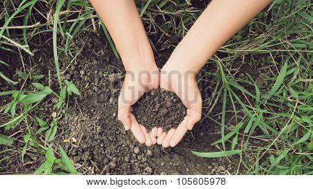 Female Hands Full Of Soil Over Soil Background, Representing Fertility
