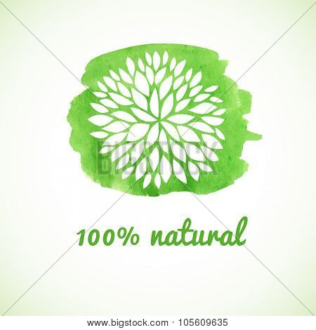 100% natural. Vector banner. Logotype design with flower on watercolor green background. Hand drawn design elements. For beauty salon, health clinic, yoga and massage center.
