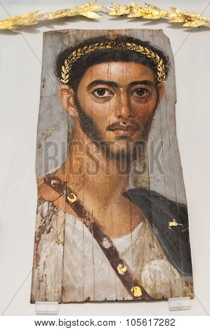 Fayum Mummy Portrait In Altes Museum, Berlin