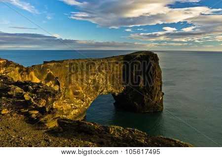 Dyrholaey rock at south coast of Iceland