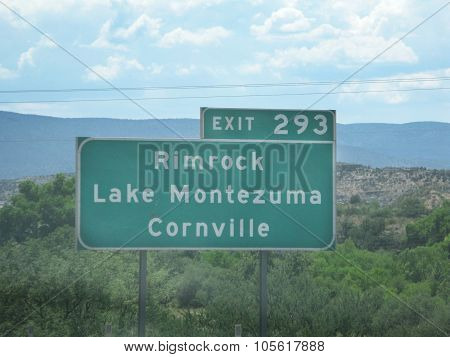 Rimrock Lake Montezuma and Cornville exit sign