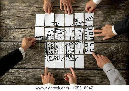 Top View Of Eight Architects Cooperating In Urban Development