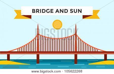 Modern bridge vector illustration. Vector bridge silhouette. Outdoor travel background. Travel bridge vector construction. Bridge construction, fast river, travel, transportation