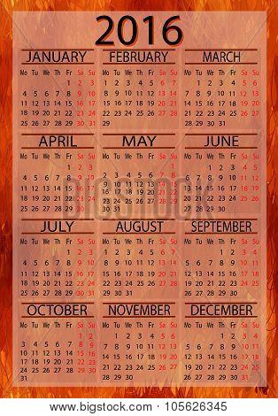 Calendar European 2016