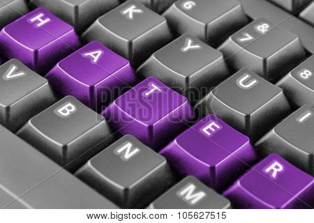 Word Hater Written With Purple Keyboard Buttons