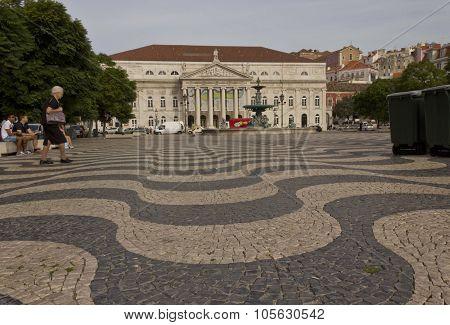 Dona Maria Teathre In Rossio Square In Lisbon