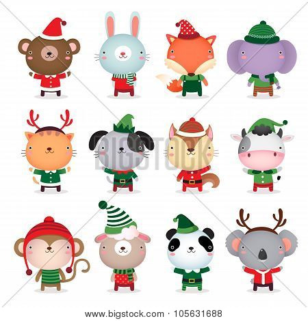 Collection Of Cute Animals Design With Christmas And Winter Theme Costumes
