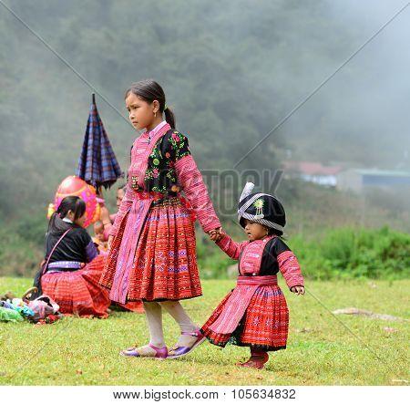 Unidentified H'mong ethnic minority kids in a festival in Mocchau, Vietnam