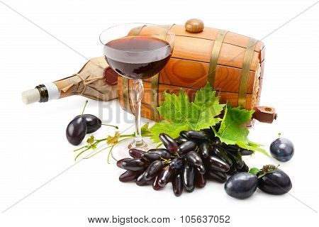 Glass Of Wine, Barrel And Bottle Isolated On White Background