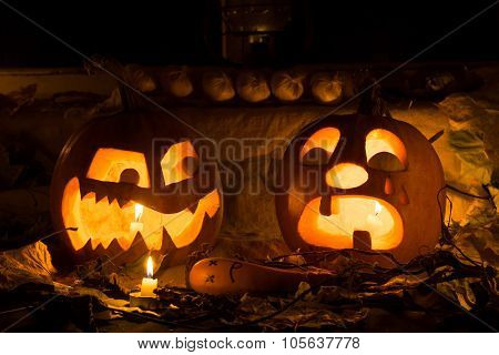 The Photo For A Holiday Halloween, Evil Pumpkin Sneers At The Crying Pumpkin.