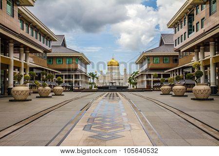 Beautiful View of Sultan Omar Ali Saifudding Mosque from the Main Street-Bandar Seri Begawan Brunei Southeast Asia poster