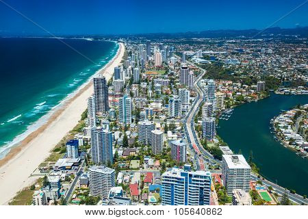 GOLD COAST, AUS - OCT 04 2015: Aerial view of the Gold Coast in Queensland Australia looking from Surfers Paradise down to Coolangatta