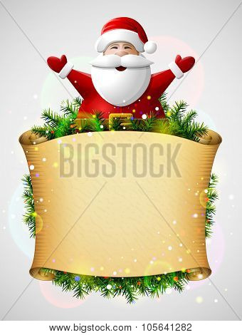Santa Claus With His Hands Up Above Christmas Paper Scroll