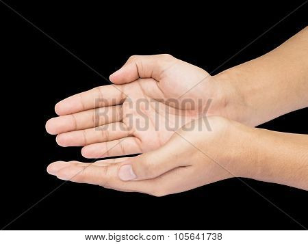 Two Hands Holding Sign