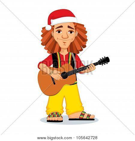 Christmas Rasta Playing Guitar