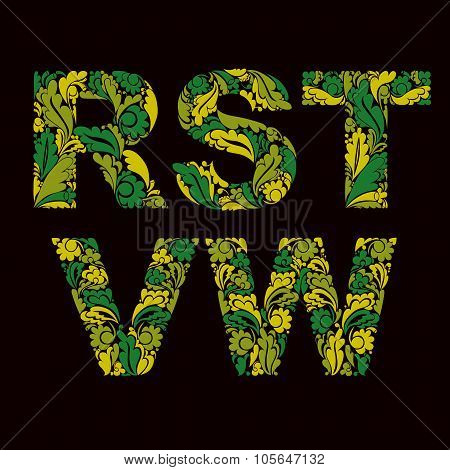 Vector Letters Decorated With Spring Seasonal Leaves, R, S, T, V, W. Vintage Ornamental Typescript.
