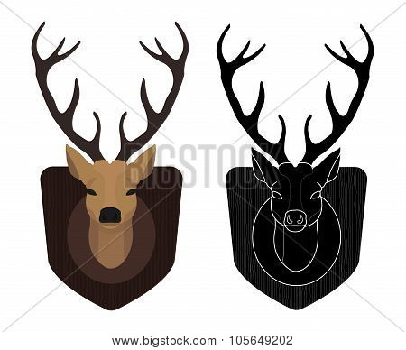 Hunting trophy. Stuffed taxidermy deer head. Color, silhouette