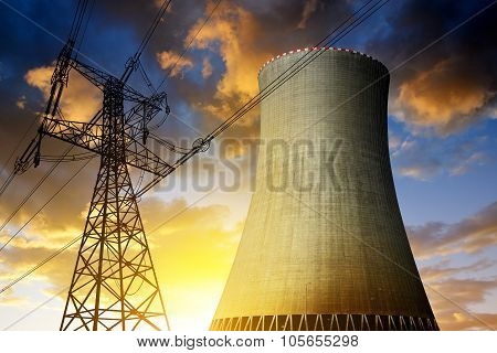 Nuclear power plant with high voltage towers