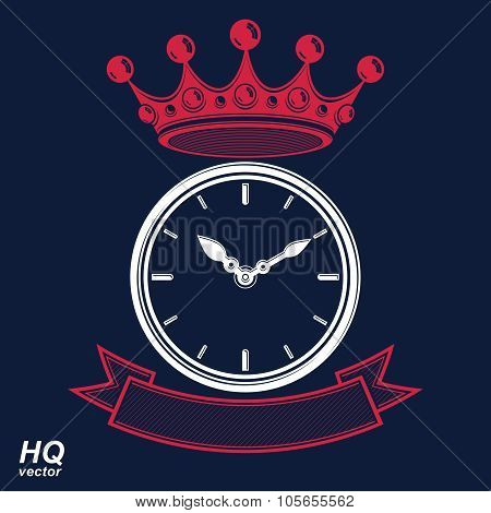 Best Time Management Award Vector Eps8 Icon, Luxury Wall Clock With An Hour Hand On Dial. High Quali