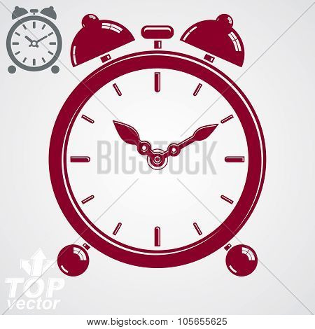 Vector 3D Alarm Clock With Two Symmetric Bells. Wake Up Conceptual Icon, Additional Version Included