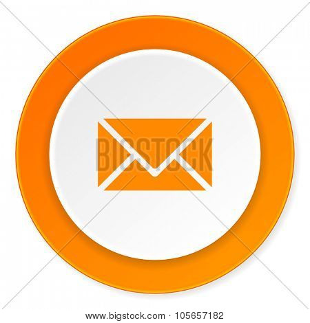 email orange circle 3d modern design flat icon on white background