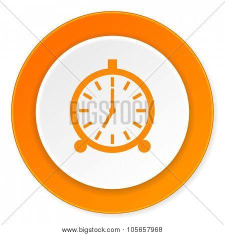 alarm orange circle 3d modern design flat icon on white background