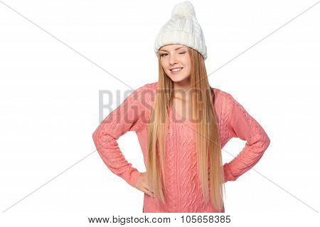Winter woman giving a wink