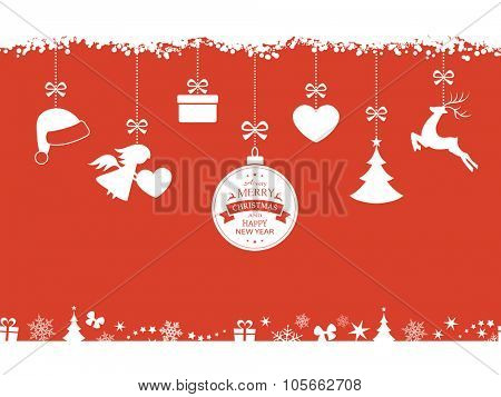 Set of hanging Christmas ornaments like bauble, santa hat, reindeer, angel, heart, present and tree on red background. The bottom and top borders of snow and Christmas symbols will tile seamlessly.