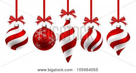 Christmas balls with red ribbon and bow isolated on white. Vector illustration