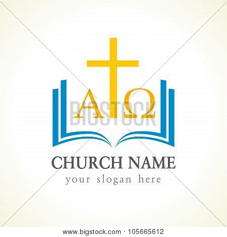 Christian church vector logotype. Gold crucifixion, open blue book, cover, pages,