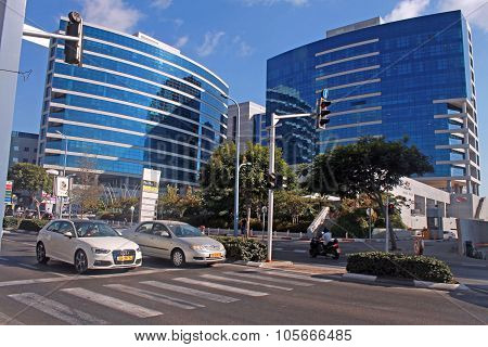 Streets And Modern Building In Herzliya, Israel.