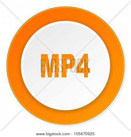 mp4 orange circle 3d modern design flat icon on white background