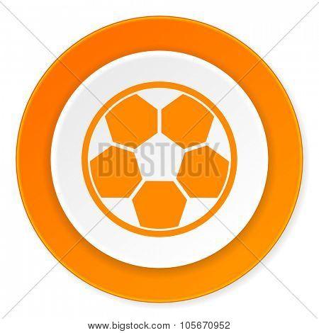 soccer orange circle 3d modern design flat icon on white background