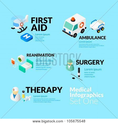 Medical healthcare infographic set with isometric flat icons, included first aid ambulance reanimati