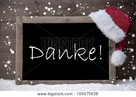 Gray Christmas Card, Chalkboard, Danke Mean Thank You, Snow