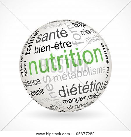 French Nutrition theme sphere with keywords full vector poster