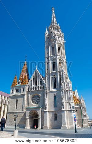 St. Matthias church in Budapest, Hungary. Saint Matthias cathedral. Beautiful gothic architecture in Hungary, travel destinations in Budapest. poster