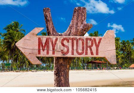 My Story arrow with beach background