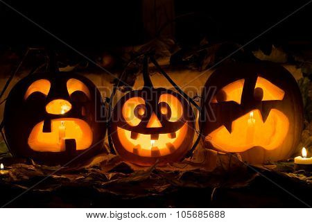 Photo Composition From Three Pumpkins On Halloween.