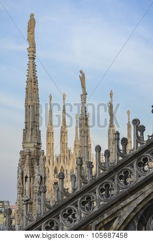 Gothic Duomo rooftop statues, Milan, Lombardia, Italy poster