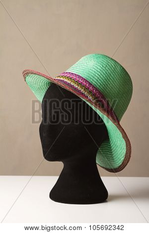 Ladies Green Fashion Hat On Display