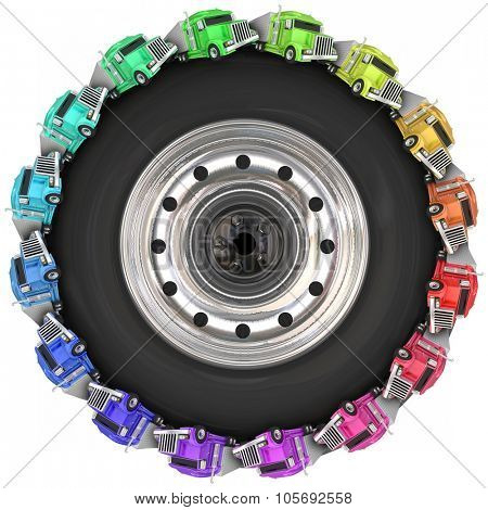 Fleet or convoy of big rig 18 wheeler trucks driving around a wheel or tire to illustrate over the road trucking