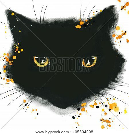 Halloween poster for the holiday with the symbols of the holiday. watercolor illustration  Cat
