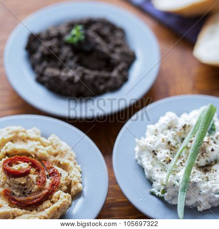 Hummus, Tapenade And Cottage Cheese